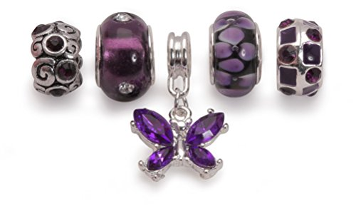 Bling Rocks Liberty Charms Purple Silver Plated Charm Bead Set of 5 for Charm Bracelets Gift Wrapped