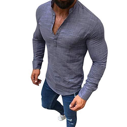 Blusa de Hombre BaZhaHei Camisetas de Hombre Abierta de Color sólido Lino Casual para Hombres del Camisas de Manga Larga para Hombre Polo con Cuello en V de Blusa de Hombre Ropa de Hombre