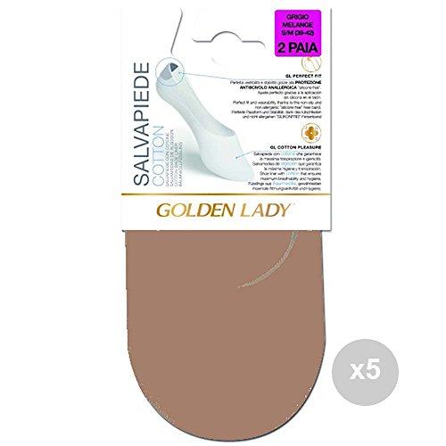 GOLDEN LADY Set mit 5 Fußsacken, Beige, 35/38, Baumwolle, 2 Paar Damen-Socken, mehrfarbig, Einheitsgröße