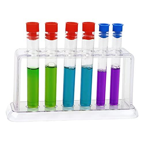 Tube à essai 6 pièces,Porte-éprouvettes de test transparent,tube de conteneur de stockage de bonbons à scellage transparent d'une capacité de 100 ml avec couvercles,support de tube à essai