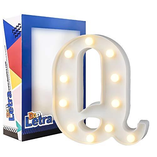 DON LETRA Lámparas Decorativas, Letras de A-Z con Luces LED, Decoración de Dormitorio Infantil, Altura de 22cm, Color Blanco - Letra Q