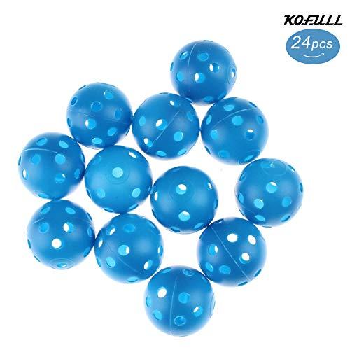 Kofull Golfbälle aus Kunststoff mit Löchern für einen Luftstrom, gefärbt, für Haustiere, Kinder, Pool, 40 mm, 24 Stück, blau