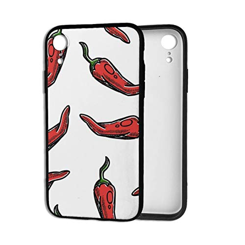 Art Red Chilis Peppers Vegetables Phone Cases Mobile Shell Cover Designed Compatible for iPhone XR Clear Apple Cell Case with Soft TPU+PC Frame Anti-Scratch Shock Black