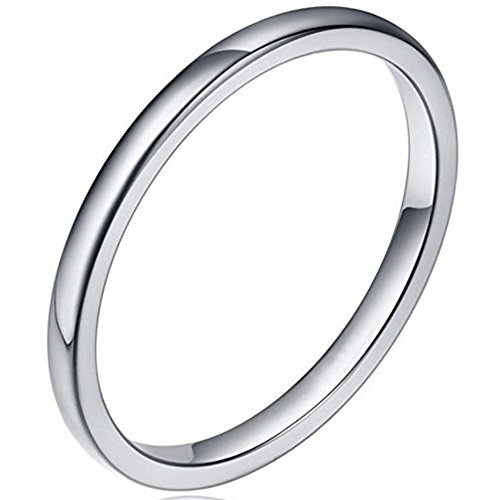 1.5mm Stainless Steel Classical Plain Stackable Wedding Band Ring (Silver, 6.5)