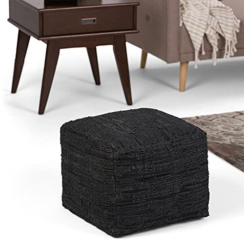 Simpli Home Fredrik Transitional Square Pouf in Black Woven Leather
