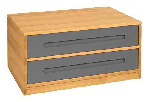 BioKinder Lina Sideboard Bettkasten Kommode mit 2 Schubladen aus Massivholz Erle und Kiefer 80 x 55 x 40 cm, Schubladen grau lasiert