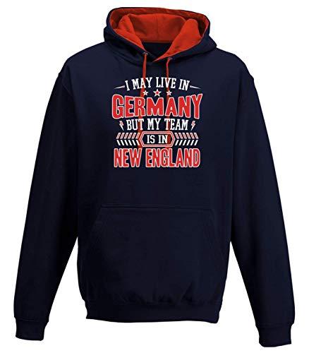 Shirt Happenz Patriots New England Pats Football Super Bowl Premium Varsity Hoodie Pulli Kontrasthoodie Kapuzenpullover, Größe:L, Farbe:Dunkelblau Rot JH003