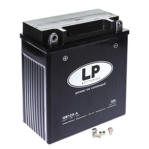 TECNO-GEL LP Motorrad-Batterie YB12A-A/B = 12N12A-4A-1, 12V Gel-Batterie 12Ah (DIN 51211, 51215), 134x80x161 mm inkl. Pfand