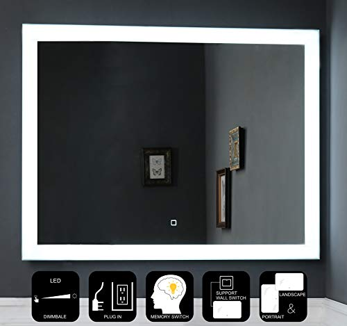 JOVOL Dimmable LED Lighted Bathroom Mirror Wall Mounted Vanity Mirror \ Dimmable -