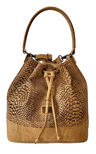 Kaibe Bolso bombonera grande de corcho portugués Bolso de lazo Bolso de hombro Bolso de mano Bolso de cubo de corcho para mujeres, estilo piel de serpiente