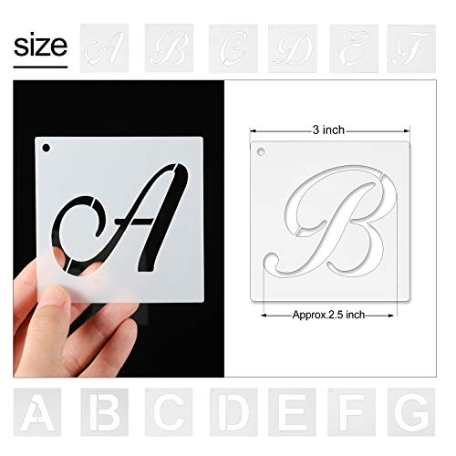 72 Pieces Reusable Letter Number Stencils Plastic Alphabet Painting Stencils Number Stencils Template for Painting on Wood DIY Home Decor Art Projects (3 x 3 Inch) Photo #2