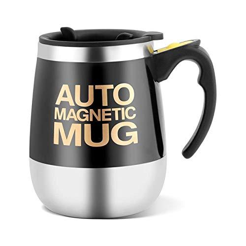 Kuuleyn Selbstrührende Tasse, elektrische selbstmischende Tasse aus rostfreiem Stahl, rührende Kaffeetasse(Schwarz)
