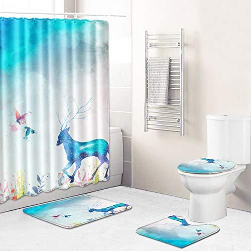 4 Pcs Christmas Shower Curtain/Non-Slip Bathroom Rugs/Lid Toilet Cover/Bath Mat, Funny Santa Claus Christmas Reindeer Carpet Decor,Merry Christmas Decorations Sets Reindeer Blue-L