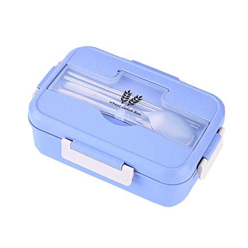 JIASHA Lunch Box,Kids Bento Box,Eco Scatola da Pranzo in Fibra di Paglia di Grano,può Essere Usato per Microonde e Frigo Lavastoviglie (Blu)