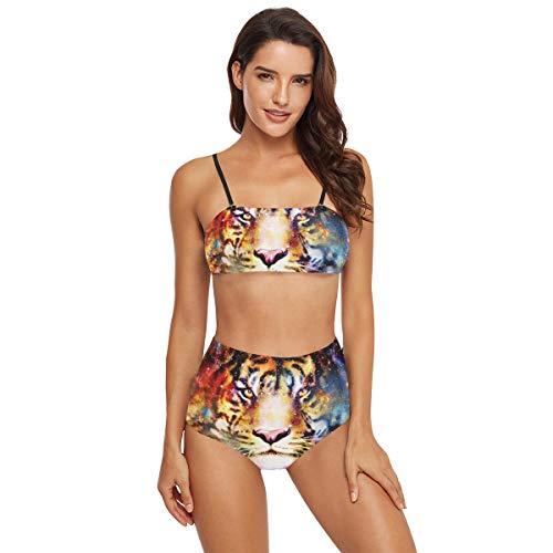 Badeanzug mit hoher Taille für Damen, Bikini – Magischer Weltraum, Tiger, zweiteilige Bademode Gr. M, multi