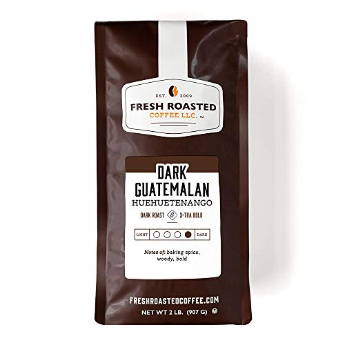 Fresh Roasted Coffee LLC, Dark Guatemalan Huehuetenango Coffee, Dark Roast, Whole Bean, 2 Pound Bag