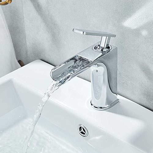 Grifo de lavabo corto cromado, cascada, mezclador de lavabo de una sola manija, grifo de grúa montado en la cubierta, grifo de agua fría y caliente