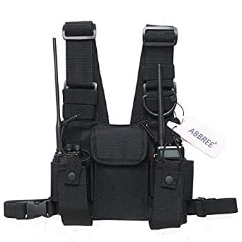 Abbree Front Pack Pouch Holster Vest Rig Chest Bag Carry Case for Baofeng Two Way Radio UV-5R BF-F8HP UV-82 TYT Motorola Midland  Black