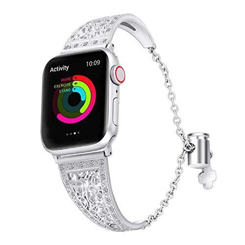 CGGA Bling - Pulsera de lujo para Apple Watch de 38 mm y 40 mm para iWatch Series 5/4/3/2/1, correa de reloj de pulsera de diamantes rosa (color de la correa: plata, tamaño: 42 mm y 44 mm)