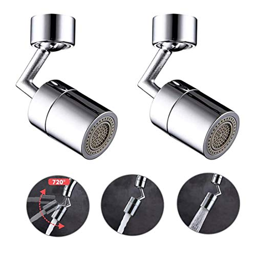 NNEWSP Set of Two Universal Splash Filter Faucet,720° Degree Swivel Sink Faucet Aerator,High Pressure Large Flow Aerator Dual Function Faucet Aerator, for Kitchen Sinks and Bathroom Hand Washing Table