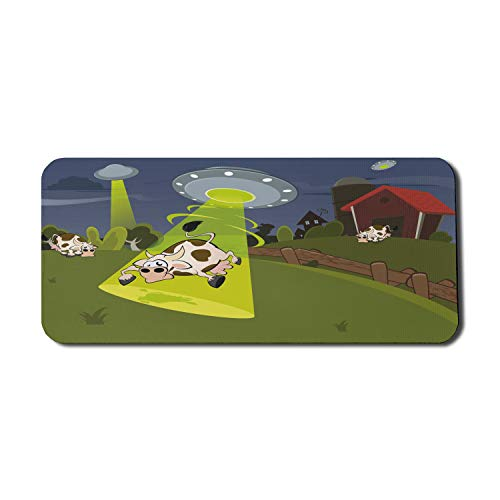 Ambesonne Cartoon Computer Mouse Pad, Farm Warehouse Grass Fences Cow Alien Abduction Funny Comics Image Artwork Print, Rectangle Non-Slip Rubber Mousepad X-Large, 35' x 15' Gaming Size, Multicolor