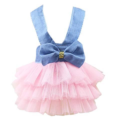 Petyoung Vestido de Princesa para Perros Vestido de Malla de Hadas de Bowknot para Mascotas Ropa de Traje Falda de Tutú para Gato de Perro