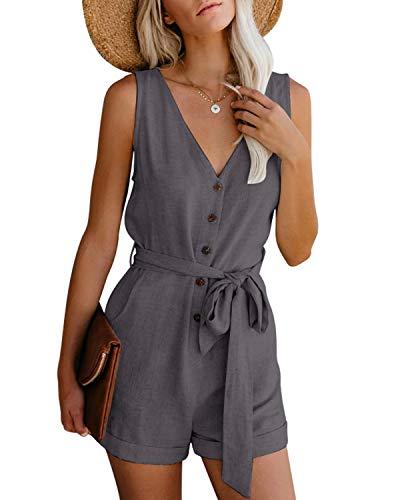CNFIO Damen Sexy Jumpsuit Sommer Elegant Overalls Ärmellos Kurz Knöpfe Playsuit Beachwear Romper