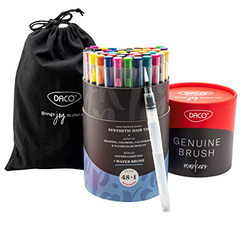 DACO Genuine Watercolor Paint Brush Pens & Water Brush, Brush Markers with Flexible Paint Brush Tips, Watercolor Paint Markers for Artists, Coloring, Painting, Drawing, Lettering, Washable, Kid Safe