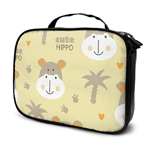 Aquatic Creature Cute Animal Hippo Travel - Estuche de maquillaje para mujer