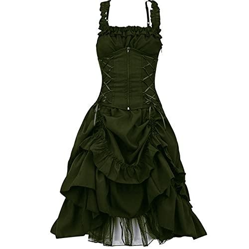 KMKM Vestido gtico victoriano para mujer, hombros descubiertos, vestido medieval, vestido de baile, disfraz de bruja para Halloween, verde, XXL
