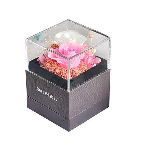 Gmgod Flor eterna, ramo de rosas de lujo romántico con caja de joyería - Multi color - Talla Única