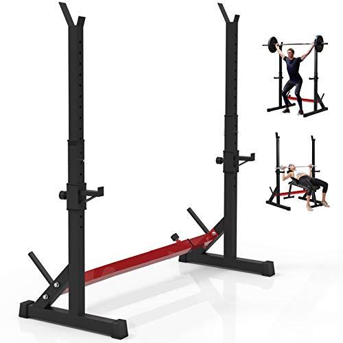 Rack Squat Regolabile per Bodybuilding, Rack con Bilanciere Multifunzione Cremagliera di Sollevamento Pesi con Supporto Bilanciere, 250 kg di Carico Massimo