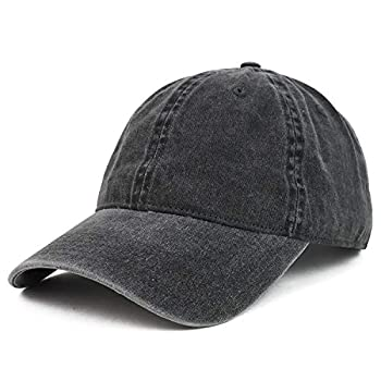 Armycrew XXL Oversize Big Washed Cotton Pigment Dyed Unstructured Baseball Cap - Black
