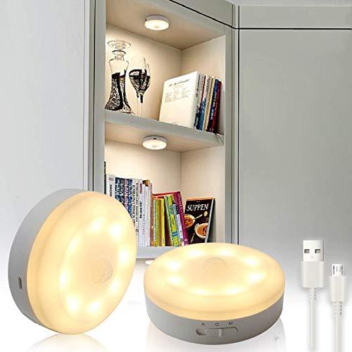 Bason Puck Lights, USB Rechargeable Cabinet Lights,Motion Sensor Closet Light, LED Wireless Lighting for Kitchen, Wardrobe,Hallway,Warm White 3000K,2 Pack…