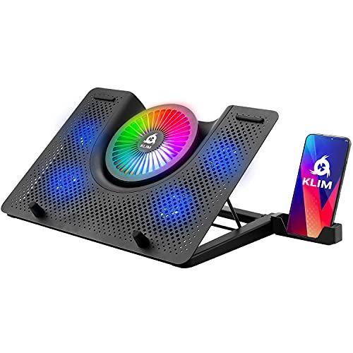 KLIM Nova + Base di Raffreddamento RGB per PC Portatili da 11  a 19  + Supporto di Raffreddamento per Laptop da Gaming + USB + Stabile e Silenzioso + Compatibile con Mac e PS4 + novità 2021