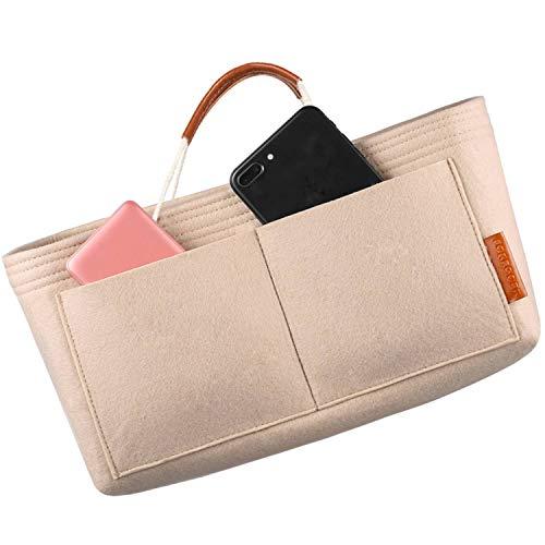 FOREGOER Felt Handbag Bag Organiser Insert for Tote with Handles (Beigee)