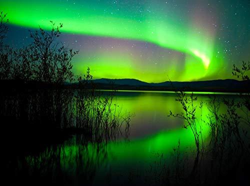 wandmotiv24 Fototapete Grünes Polarlicht Größe: 350 x 260 cm Wandbild, Motivtapete, Vlietapete KTk401