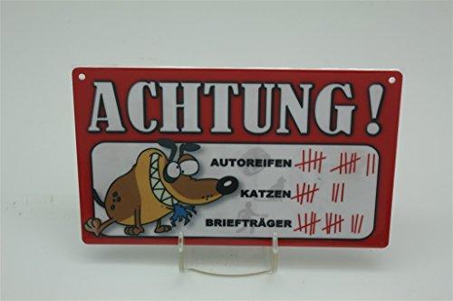 STRICHLISTE BRIEFTRÄGER AUTOREIFEN KATZEN - Tierwarnschild - VORSICHT Tier Warnschild 20x12 cm HUND HUNDE Schild 57