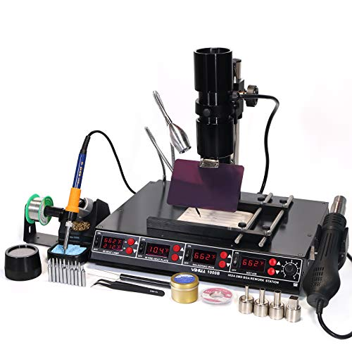 YIHUA 1000B- 4 in 1 Station - IR Infrared BGA, Preheater, Soldering Station and Hot Air Rework Station, plus a Temp Sensor, ºC/°F display, PCBs Holder, LED Lamp and more.