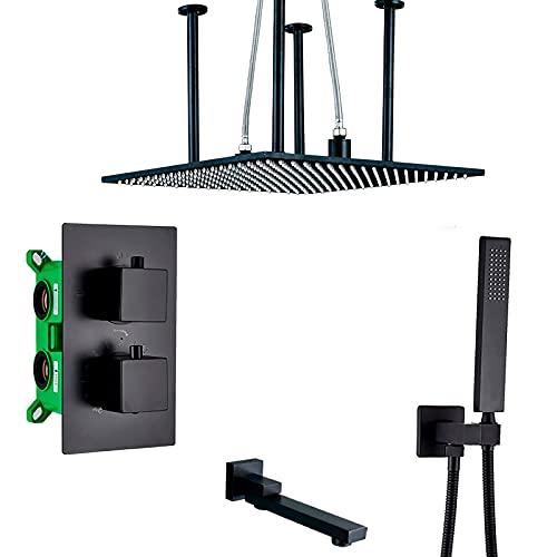 KAUTO Sistema de Ducha termostático LED 20'Sistema de Cabezal de Ducha Tipo Lluvia Cuadrado con Juego Combinado de Mano, instalación empotrada Juego de Grifo de Ducha Negro Completo, 2 vías