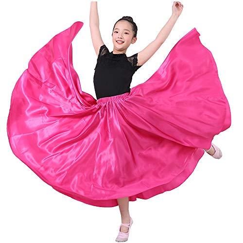 SANCAN Girls Children Dance Performance Skirt for Belly Practise Halloween Cosplay Costume (Rosered, 3T/4T/4)