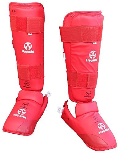 Hayashi Karate Schienbeinschutz und Spannschutz WKF (rot, L)