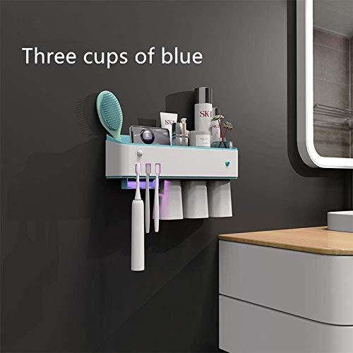 Tandenborstel sterilisator UVsterilisatie elektrische badkamer rack wand- punch-vrije mondwater cup set-drie koppen blue + knijpen tandpasta apparaat 8bayfa (Color : Three Glasses of Blue)