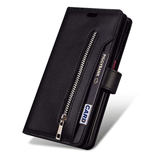 JAWSEU Compatible avec Samsung Galaxy Note 10 Coque Portefeuille PU Étui Cuir à Rabat Magnétique avec Fonction Stand[9 Fentes de Cart]Fermeture éclair Slim Leather Flip Wallet Case,noir