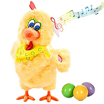 Stuffed Chicken Laying Egg Toy Electric Plush Animal Crazy Chick Laying Eggs Doll with Sound Music for Boys and Girls