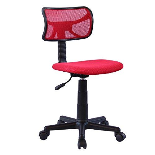IDIMEX Chaise de Bureau pour Enfant Milan Fauteuil pivotant et Ergonomique sans accoudoirs, siège à roulettes avec Hauteur réglable, revêtement Mesh Rouge