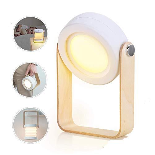 Lampada da comodino Touch dimmerabile, lampada da comodino LED luce notturna lanterna Vintage lampada da comodino, pieghevole lampada da tavolo portatile con funzione touch lampada da comodino