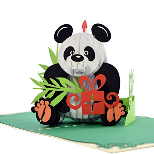 CUTPOPUP Panda Pop Up Christmas Card for Grandma, Grandpa, Son, Daughter, Kids- Wonderful Gift on Christmas, Birthday- A Remarkable Card with Artistic Design, Sophisticated- Includes elegant envelope