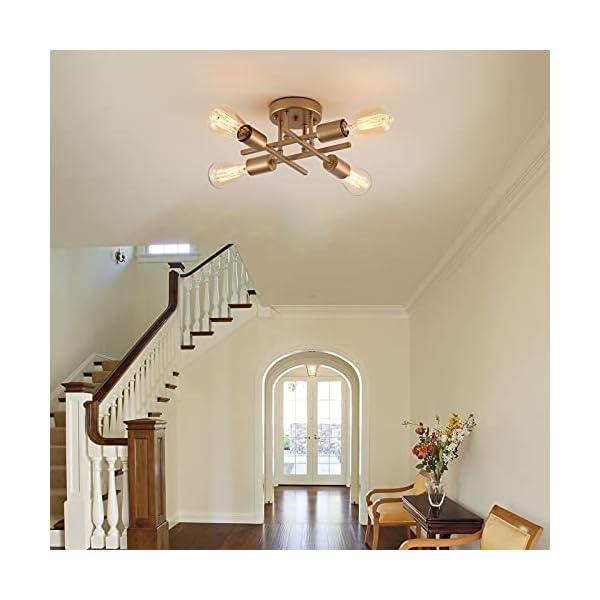 Semi Flush Mount Ceiling Light Mid-Century Modern Industrial 4 Light Farmhouse Gold Finished Metal Chandelier Lighting…