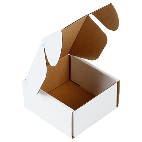 RUSPEPA Recyclable Corrugated Box Mailers - Cardboard Box Perfect for Shipping Small - 4' x 4' x 2' - 50 Pack - Oyster White